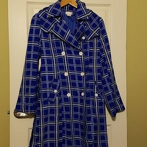 Blue plaid double breasted coat